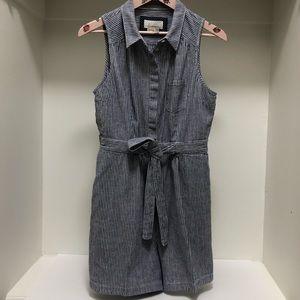 Anthropologie Linen/Cotton Stripe Short-all Romper